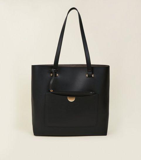 c8e77bcec8d7 ... Black Leather-Look Tote Bag ...