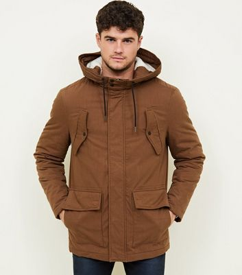 Camel Cotton Long Sleeve Parka