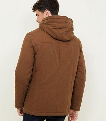 shop for Men's Camel Cotton Long Sleeve Parka New Look at Shopo