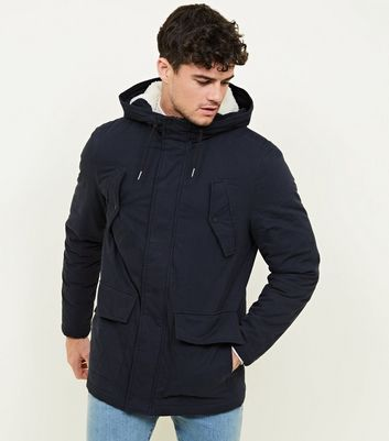 Navy Cotton Long Sleeve Parka