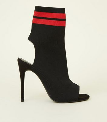 Black Stripe Peep Toe Stiletto Sock Boots