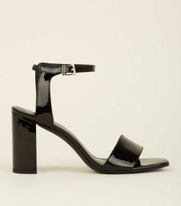 Black Patent Block Heel Sandals | New Look
