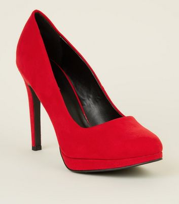 Red Suedette Platform Courts