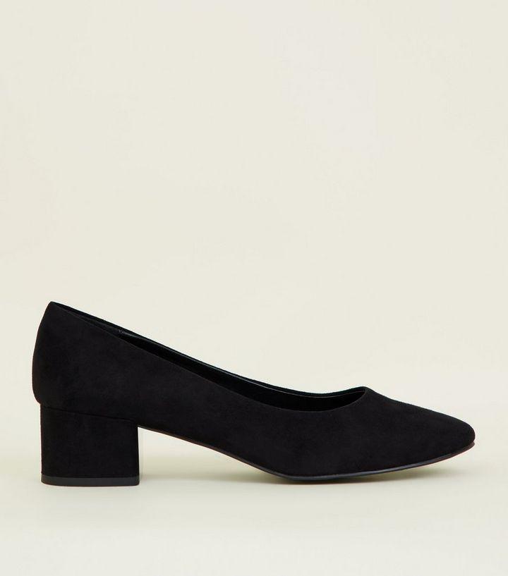 9e4962756d8 Black Suedette Block Heel Court Shoes