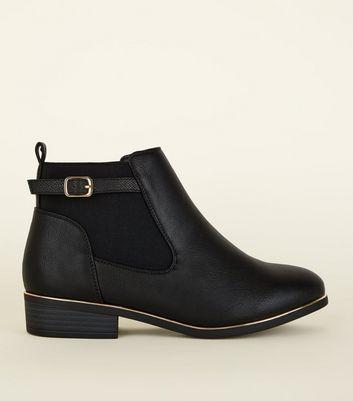 Wide Fit Black Metal Trim Ankle Boots