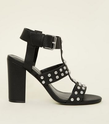 Black Leather-Look Studded Block Heels