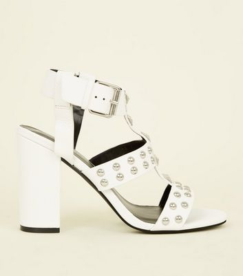 White Leather-Look Studded Block Heels