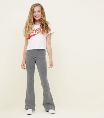 Girls Black Stripe Ribbed Flared Trousers