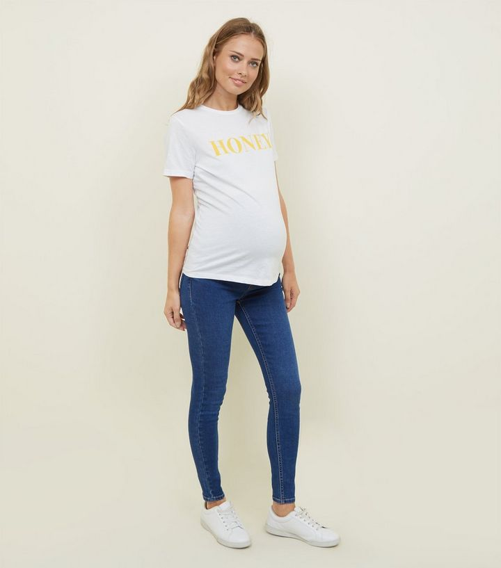 d2287f64cc447 Maternity Bright Blue Emilee Over Bump Jeggings | New Look