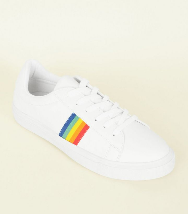 5fe4e1ddb6238 White Rainbow Stripe Lace-Up Trainers