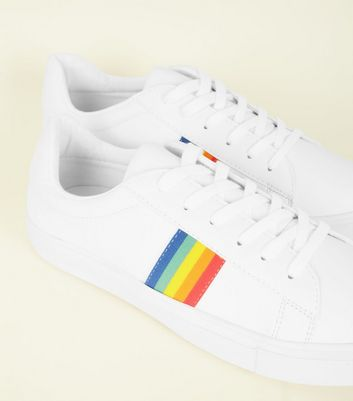 White Rainbow Stripe Lace-Up Trainers