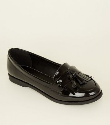 Black Patent Tassel Fringe Trim Loafers
