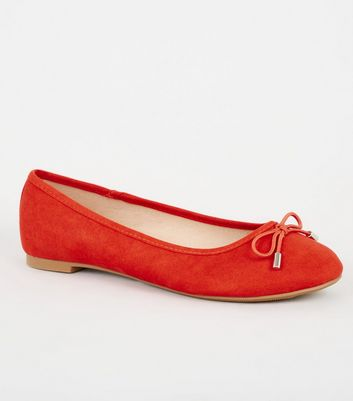 Red Suedette Bow Front Ballet Pumps