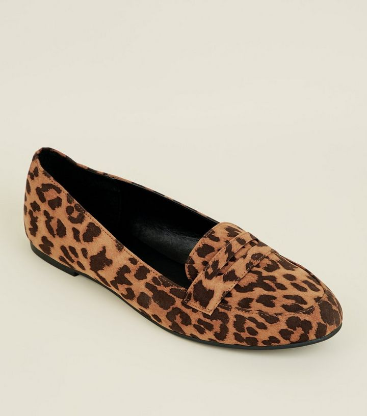 469f1cbf18f Stone Leopard Print Penny Loafers