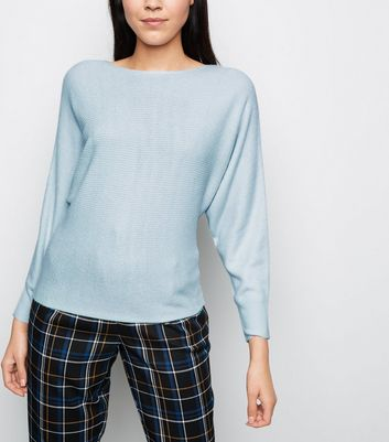 Pale Blue Batwing Sleeve Jumper