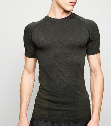 Khaki Raglan Sleeve Muscle Fit Sports T-Shirt