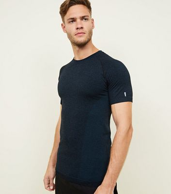 Blue Ragan Sleeve Muscle Fit Sports T-Shirt