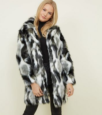 Blue Vanilla Black Patched Faux Fur Coat