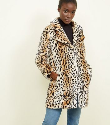 Blue Vanilla Brown Leopard Faux Fur Coat