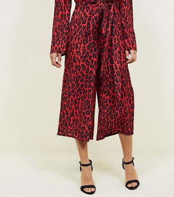 QED Red Leopard Print Culottes New Look