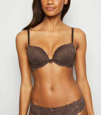 Dark Grey Lace Push-Up Bra