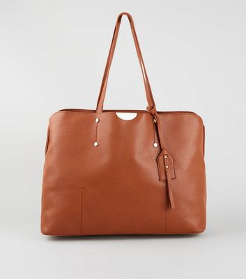 Tan Laptop Shopper Bag