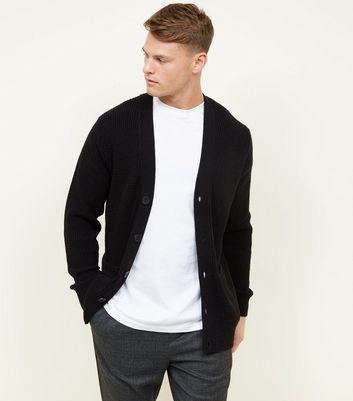 Black Tuck Stitch Knit Button Front Cardigan