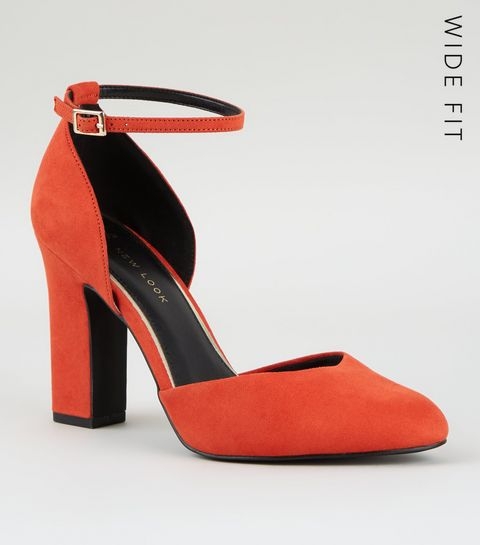 0c6315927b4 ... Wide Fit Orange Suedette Black Heels ...