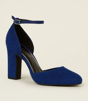 Wide Fit Blue Suedette Block Heel Courts