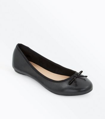 Wide Fit Black Leather Ballet Pumps