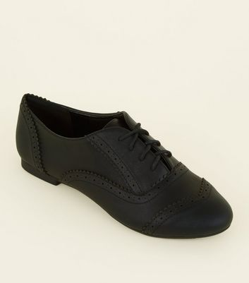 Wide Fit Black Leather-Look Brogues