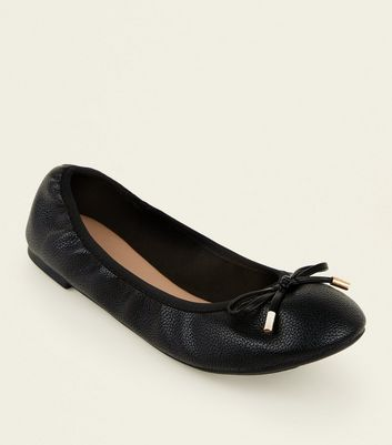 Wide Fit Black Bow Front Elasticated Ballet Pumps