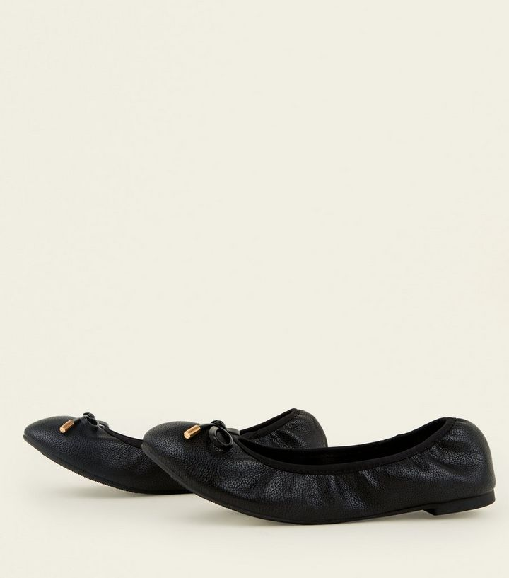163fed36672 Wide Fit Black Bow Front Elasticated Ballet Pumps Add to Saved Items Remove  from Saved Items