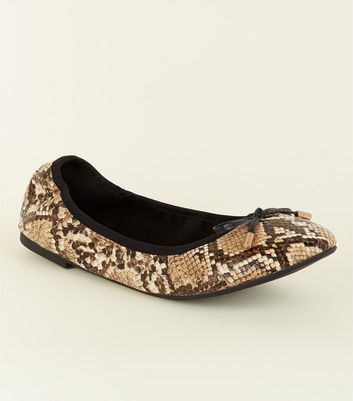 Wide Fit Faux Snakeskin Bow Front Elasticated Ballet Pumps