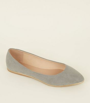 Wide Fit Grey Piped Edge Pointed Pumps