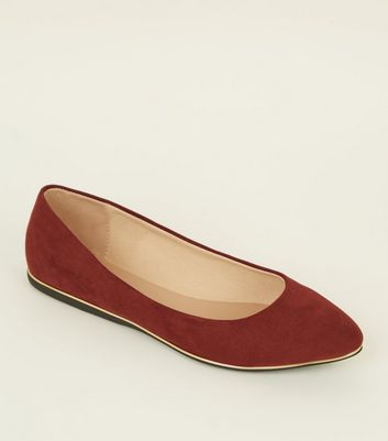 Wide Fit Dark Red Piped Edge Pointed Pumps