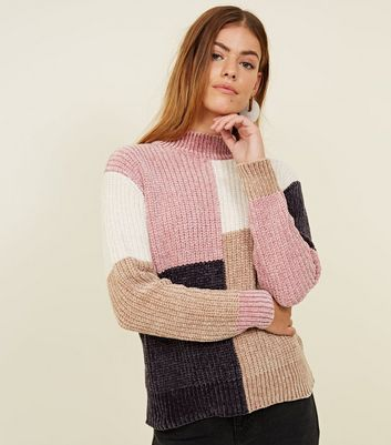 Petite Multicoloured Colour Block Chenille Jumper