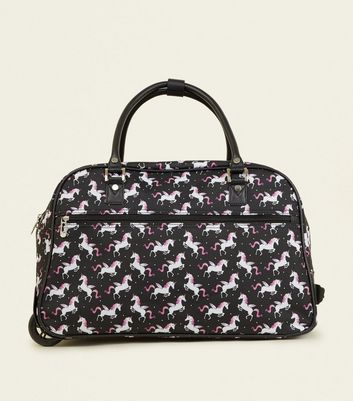 Black Unicorn Print 2 Wheel Holdall Add to Saved Items Remove from Saved Items