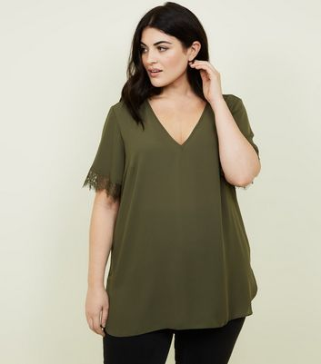 Curves Khaki Lace Trim Top