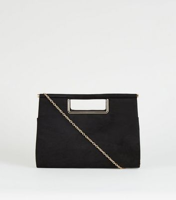 Black Metal Handle Clutch Bag