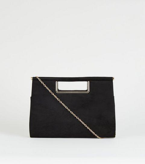 b2b04e2cedd8 ... Black Metal Handle Clutch Bag ...