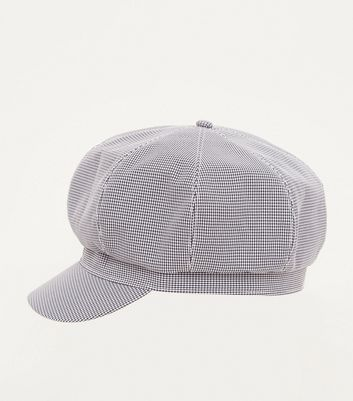 Black Houndstooth Check Baker Boy Hat