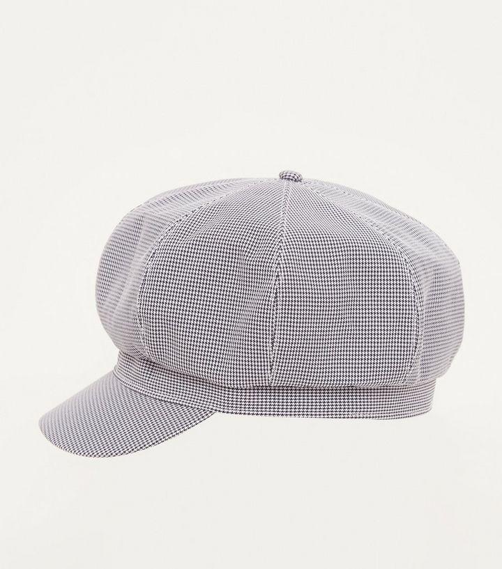 8ade189435cbd Black Houndstooth Check Baker Boy Hat