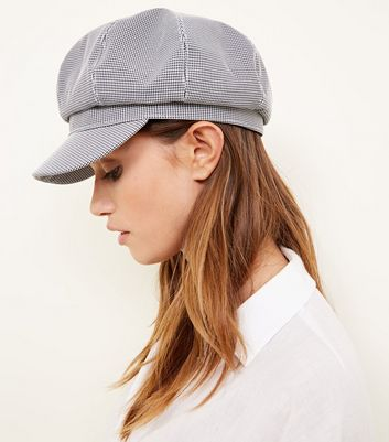 Black Houndstooth Check Baker Boy Hat New Look  978ed694b50