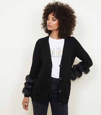 Black Knit Faux Fur Cuff Cardigan