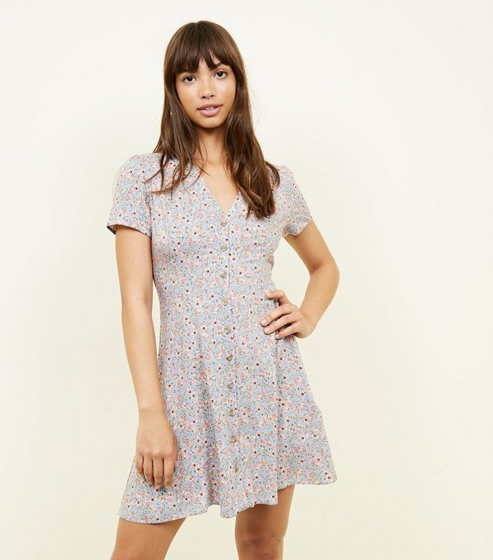 44e153339f61 Pale Blue Ditsy Floral Button Front Tea Dress