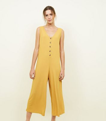 Mustard Ribbed Button Front Jumpsuit