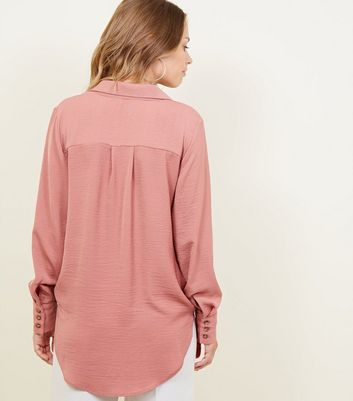 Pink Wrap Front Revere Collar Top New Look