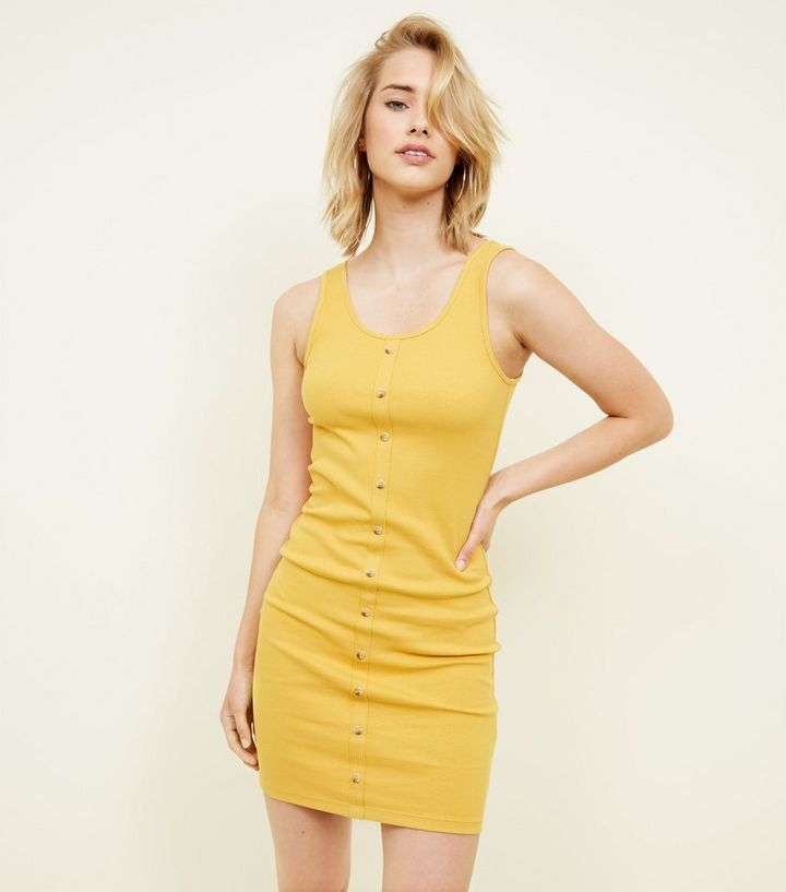78ea7c9aae6 Mustard Ribbed Button Front Bodycon Mini Dress
