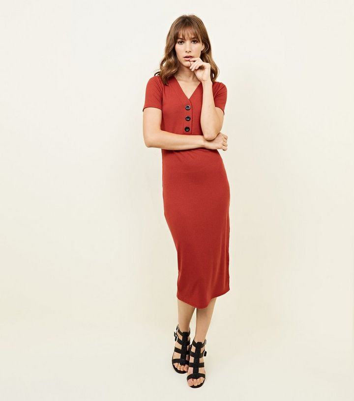 53466f854dba8 Red Ribbed Button Front Bodycon Midi Dress | New Look
